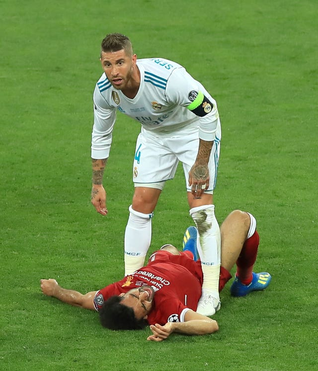 Mohamed Salah's first Champions League final ended in tears after a tangle with Real Madrid's Sergio Ramos