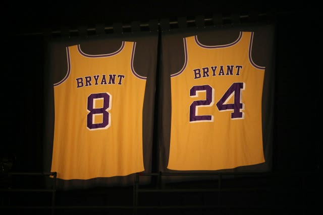 Bryant's Lakers jerseys were on display at the Staples Center