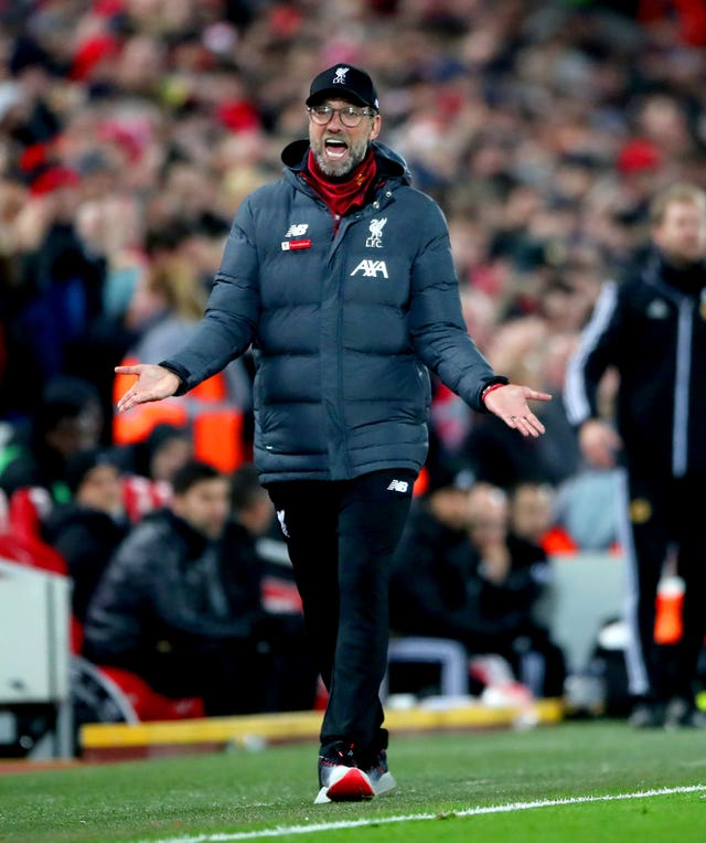 Klopp gestures during the win over Wolves