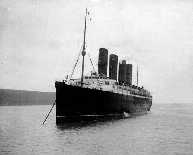 The Lusitania moored in the Mersey in 1911