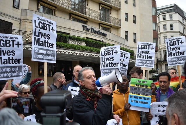 Peter Tatchell addresses protesters