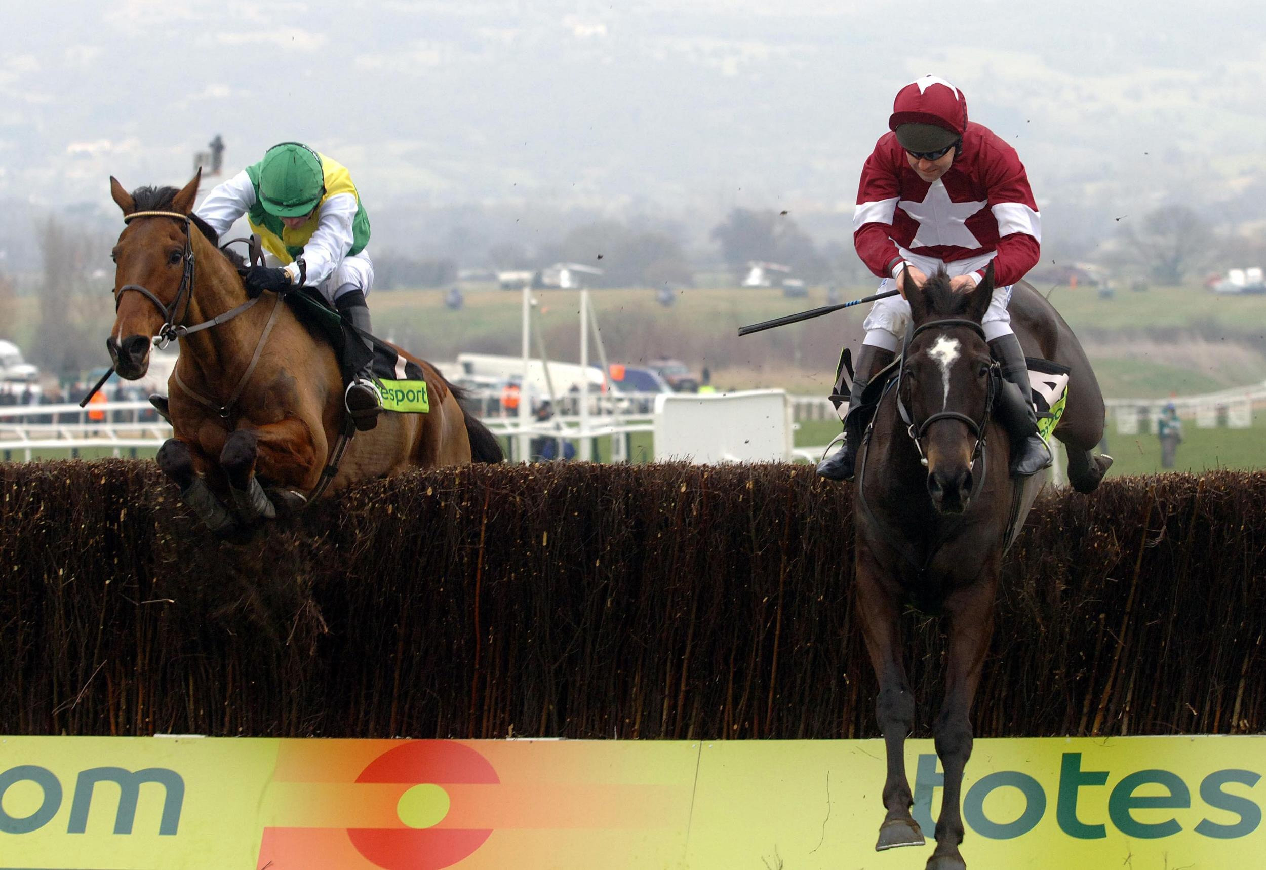 War of Attrition leads Hedgehunter over the last in the Cheltenham Gold Cup