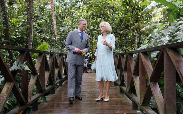 The prince and duchess tour the Fond Doux cocoa plantation during a 2008 visit to St Lucia.