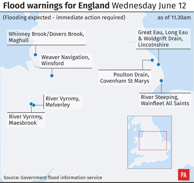 Flood warnings for England Wednesday June 12