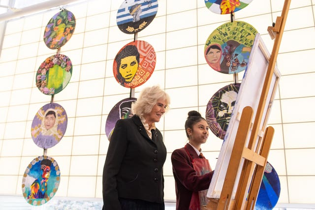 Camilla at an art class at Mulberry School for Girls