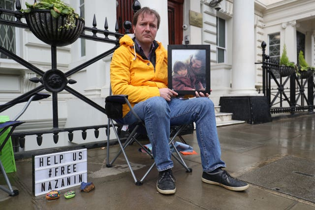 Richard Ratcliffe outside the Iranian Embassy in London where he is continuing his hunger strike in solidarity with his imprisoned wife, Nazanin Zaghari-Ratcliffe (Jonathan Brady/PA)
