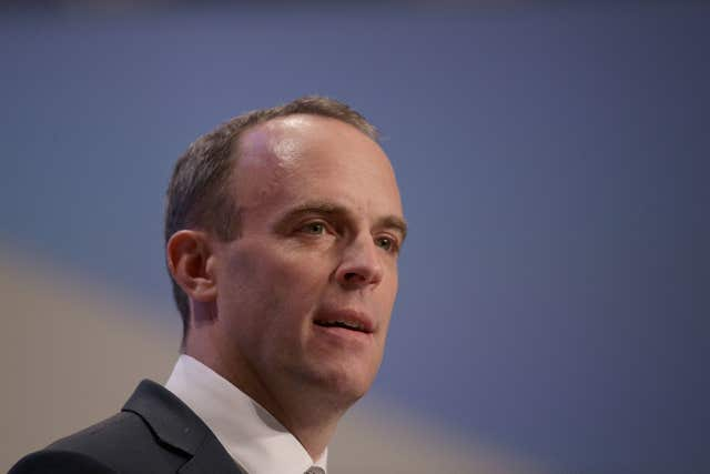 Dominic Raab said any backstop customs arrangement would have to be 'finite' (Aaron Chown/PA)