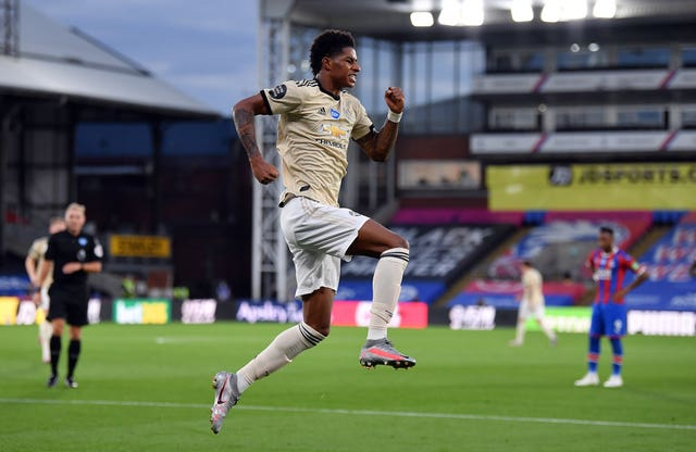 Marcus Rashford opened the scoring for Manchester United in the 2-0 win at Crystal Palace