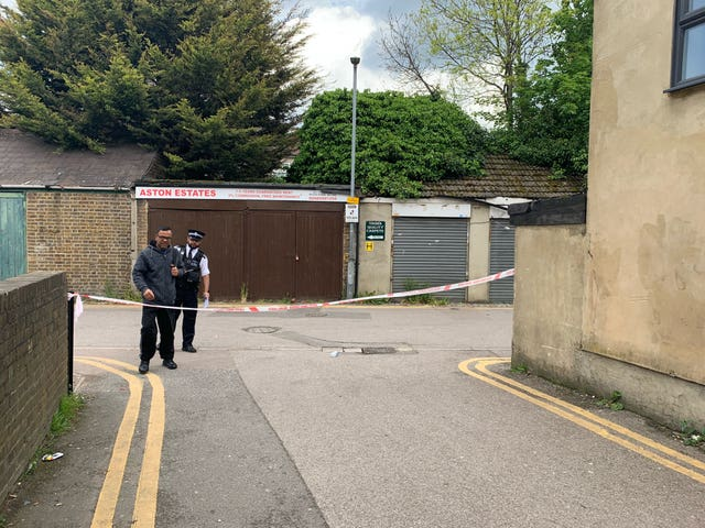 Police officers near Seven Kings Mosque in Ilford