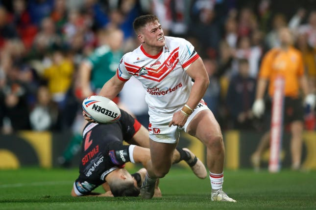 Morgan Knowles celebrates scoring for St Helens