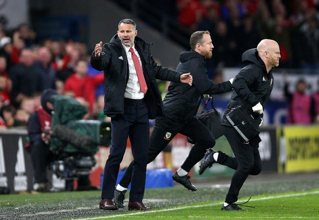 Wales manager Ryan Giggs reacts to a Croatian challenge on Daniel James