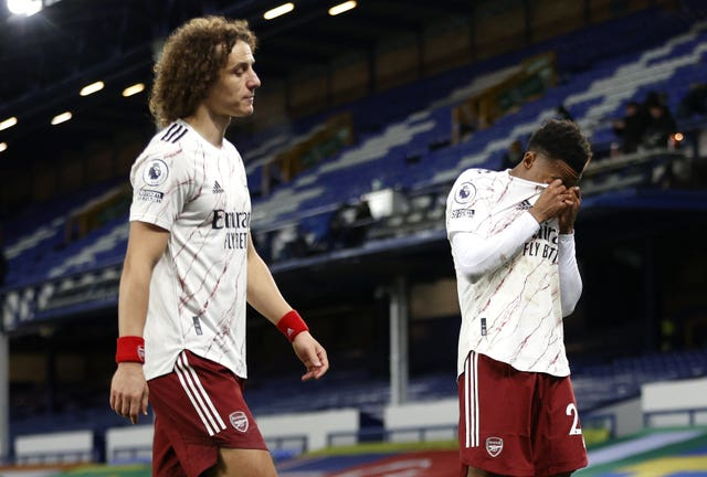 David Luiz and Joe Willock leave the pitch at Everton - where Arsenal lost for the fifth time in their last seven Premier League games.