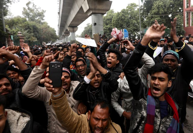 Thousands of university students flooded the streets of India's capital