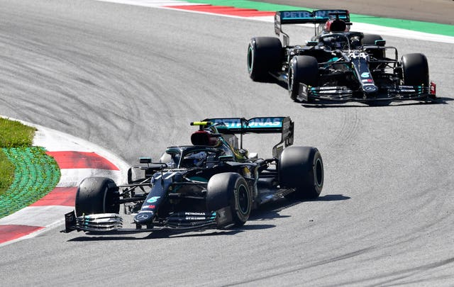 Mercedes duo Bottas and Hamilton looked set for a one-two finish in Austria