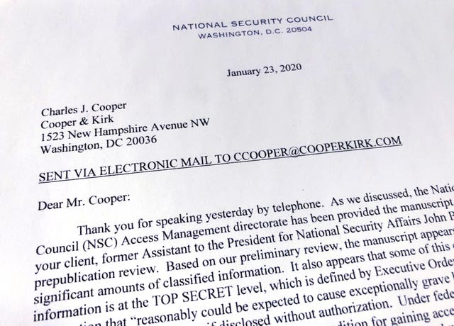 A copy of a letter from the National Security Council at The White House that was sent to former national security adviser John Bolton's lawyer