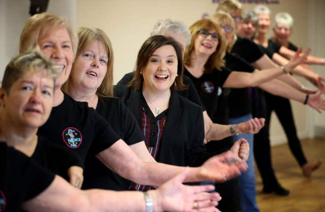 The comedian joined in with a line dancing session alongside regulars who use the facility (Jane Barlow/PA)