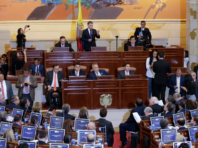Colombia's president Juan Manuel Santos speaks during the inauguration of the newly-elected legislature