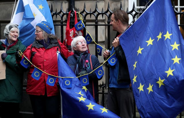 EU supporters outside the Court of Session in Edinburgh