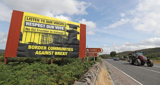 Anti-Brexit billboards on the northern side of the border