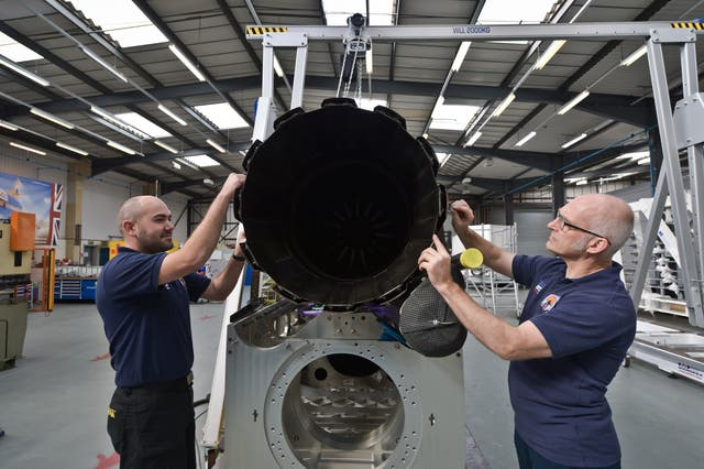 Engineers work on the Bloodhound car in Bristol (Ben Birchall/PA)