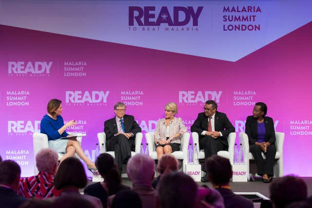 Bill Gates, second left, on a panel at the Malaria Summit London (Malaria No More UK/PA)