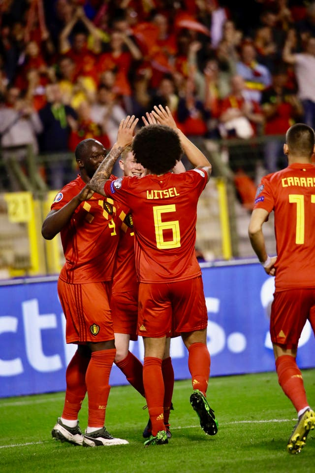 Belgium celebrate Kevin De Bruyne's third goal against Scotland