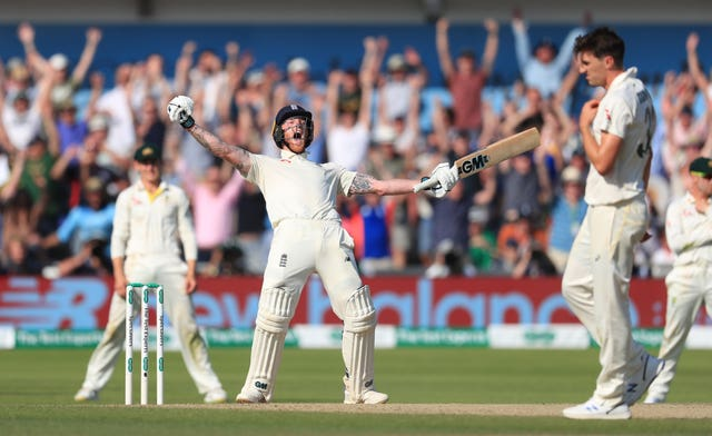 Ben Stokes celebrates his match-winning innings at Headingley