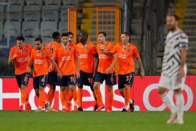 Istanbul Basaksehir's Demba Ba celebrates after scoring his side's opener against United