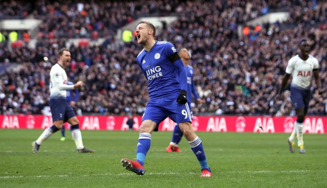 Jamie Vardy shows his frustration after missing a penalty for Leicester with his first kick after coming on as a substitute at Tottenham
