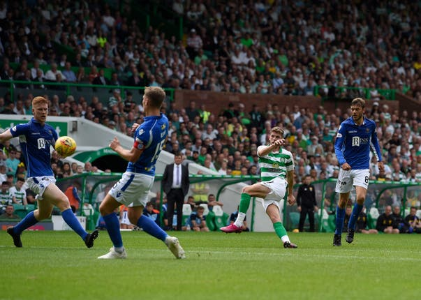 Ryan Christie, centre, curls home Celtic's second goal