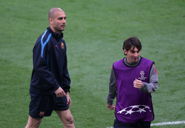 Pep Guardiola, left, worked with Messi as first-team coach at Barcelona between 2008 and 2012