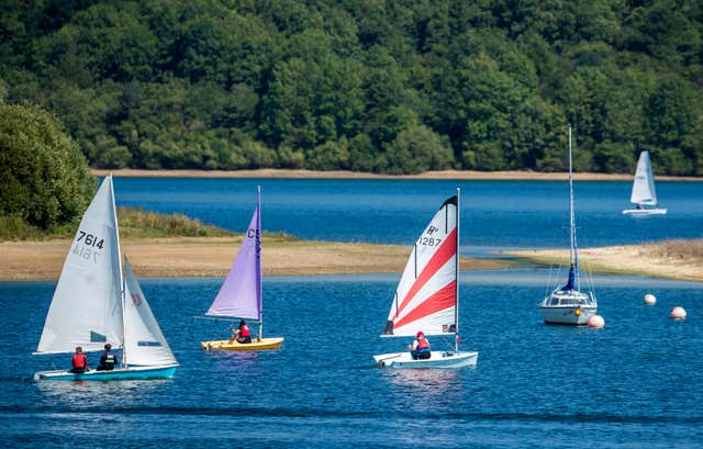 People sailing at Carsington Water in Derbyshire