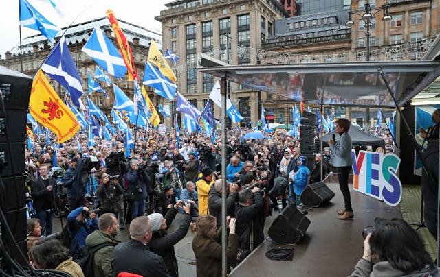 Nicola Sturgeon addressing independence rally in George Square