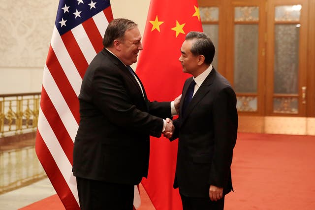 Mike Pompeo meets Chinese foreign minister Wang Yi in Beijing