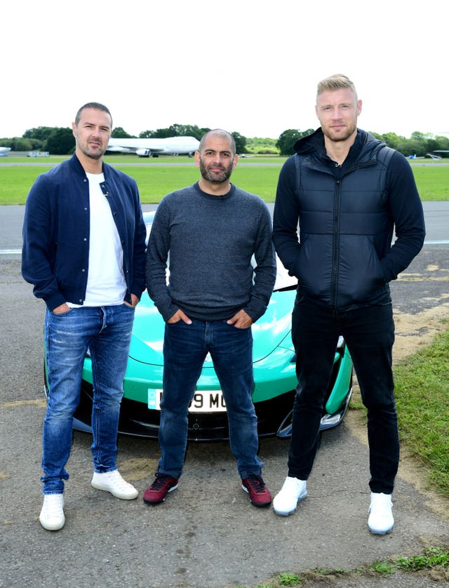 Top Gear presenters Paddy McGuinness, Chris Harris and Freddie Flintoff
