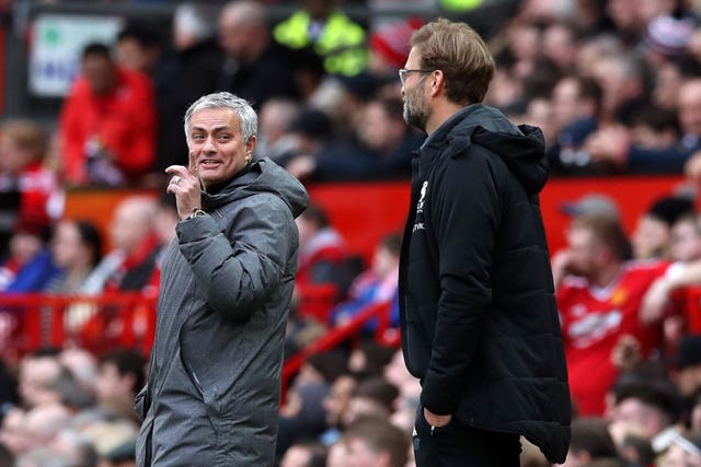 Jose Mourinho and Jurgen Klopp during a clash between Manchester United and Liverpool