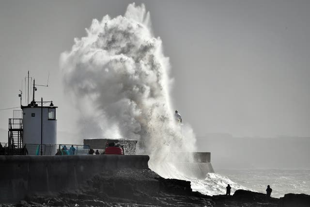 Stormy conditions at Porthcawl, Wales