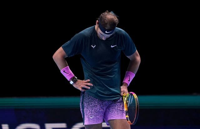 Rafael Nadal hangs his head during his defeat by Daniil Medvedev