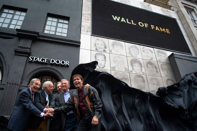 Des O'Connor, Jimmy Tarbuck, Lord Lloyd Webber, Tommy Steele and Sir Cliff Richard at the unveiling of the Wall Of Fame