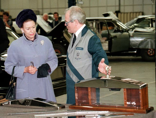 Princess Margaret is shown the finer points of making Rolls-Royce radiator grills as she tours the Crewe factory in 1996