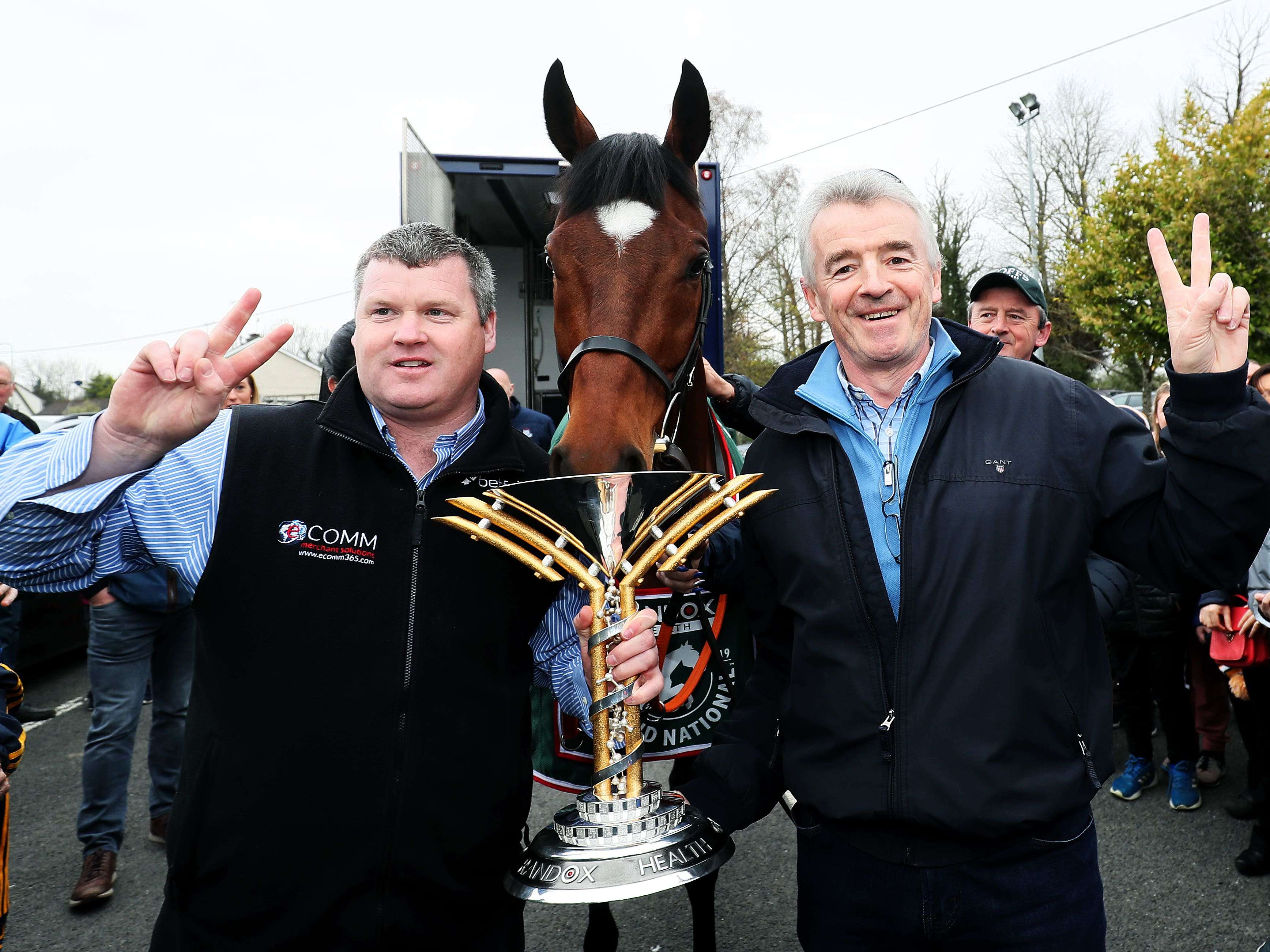 Michael O'Leary (right) with Grand National hero Tiger Roll and trainer Gordon Elliott (Brian Lawless/PA)