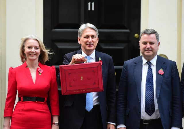 Mel Stride, right, with  Chancellor Philip Hammond, centre, in Downing Street