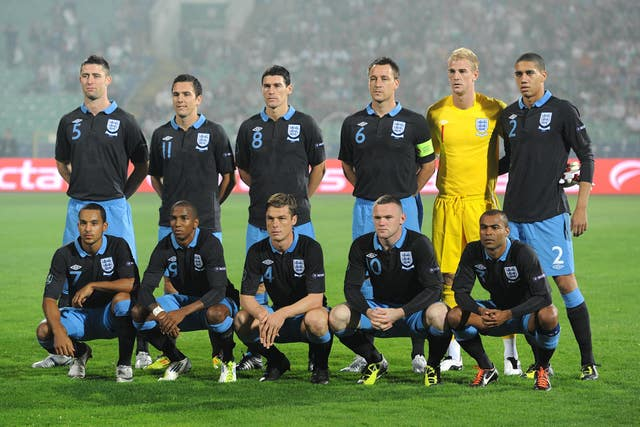 The England side in Sofia in 2011