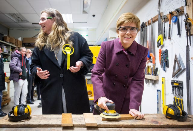 Scottish First Minister Nicola Sturgeon joined SNP candidate for Edinburgh West Sarah Masson to visit to The Shed, a Climate Challenge community project at North Edinburgh Arts, Edinburgh