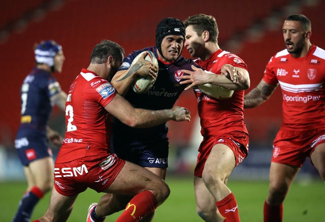 Sione Mata'utia, centre, is back for St Helens (Martin Rickett/PA)