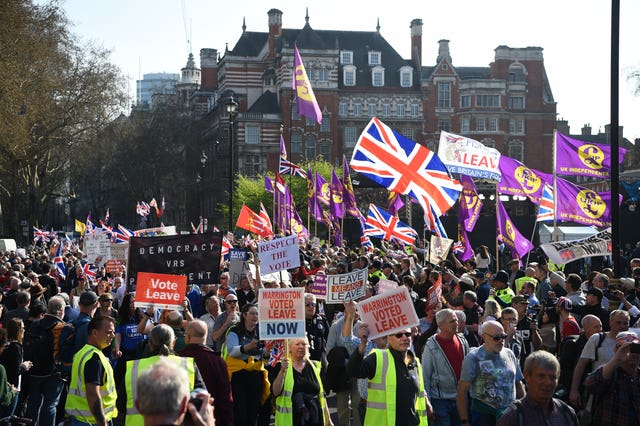 The March to Leave outside the House of Parliament