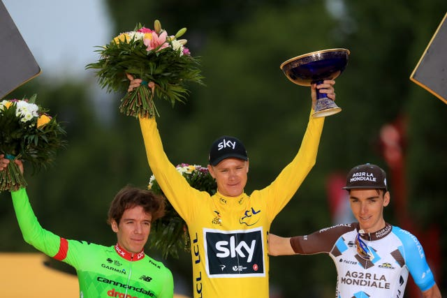 Chris Froome celebrates his fourth Tour de France victory in 2017