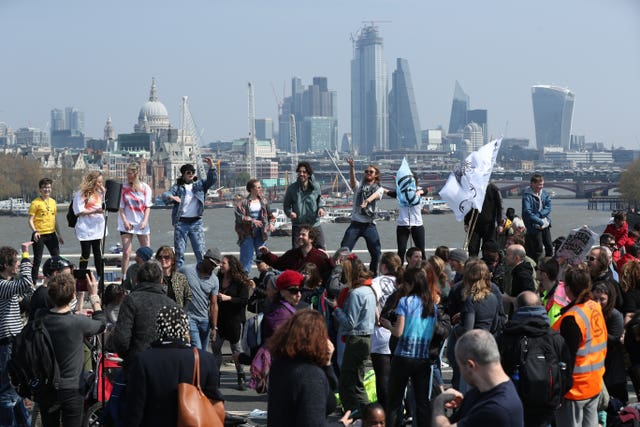 Demonstrators on Waterloo Bridge