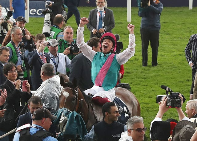 Frankie Dettori celebrates after winning the Oaks with Enable