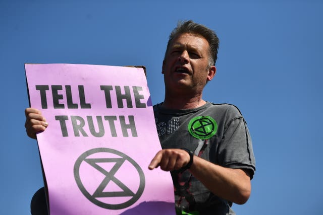 Chris Packham protesting with Extinction Rebellion